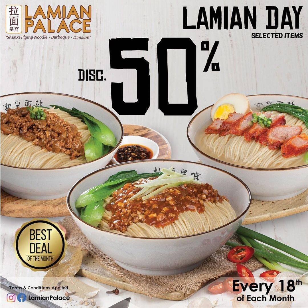 Diskon Lamian Palace Lamian Day Discount 50% Off