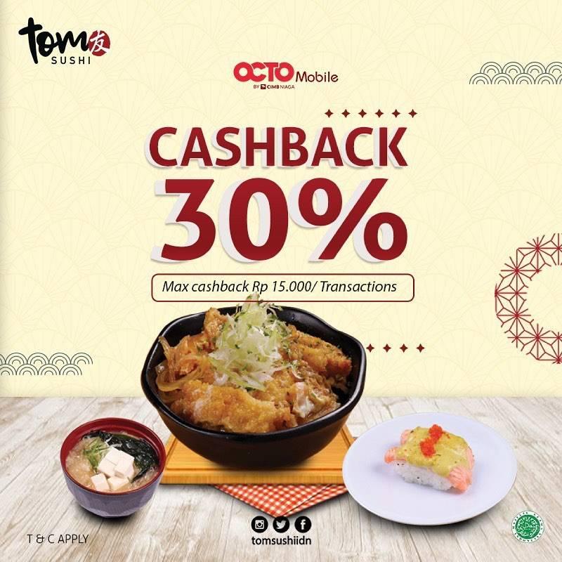 Diskon Tom Sushi Cashback 30% With Octo Mobile
