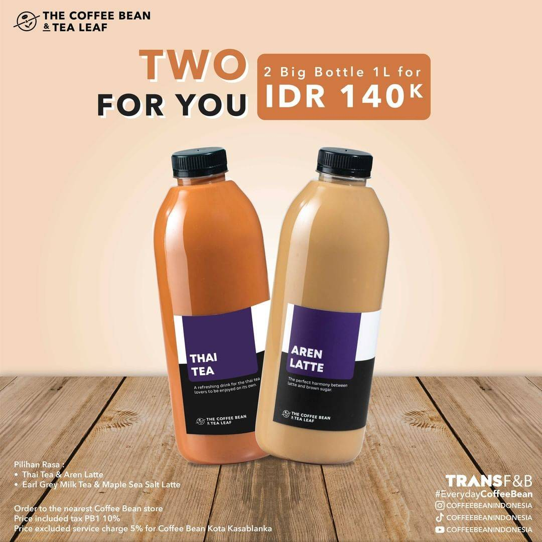 Diskon The Coffee Bean & Tea Leaf 2 Big Bottle 1L For Rp. 140.000