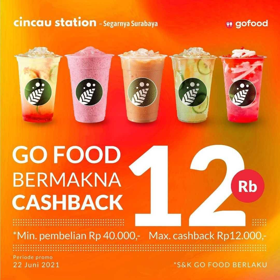 Diskon Cincau Station GoFood Bermakna Cashback Rp. 12.000