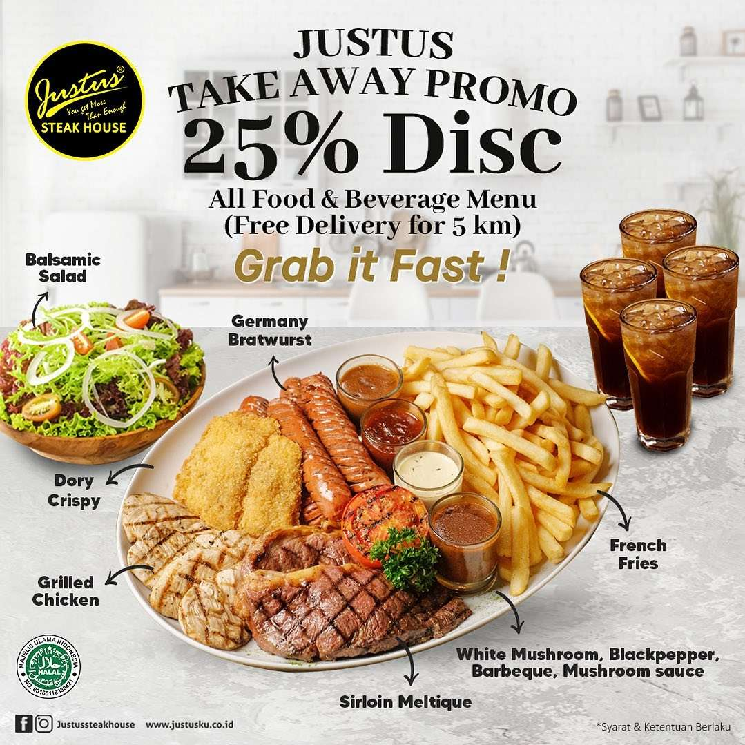 Diskon Just Us Burger Steak Take Away Promo Discount 25% Off On All Menu
