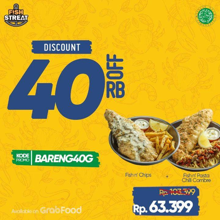 Diskon Fish Streat Discount 40% Off On GrabFood