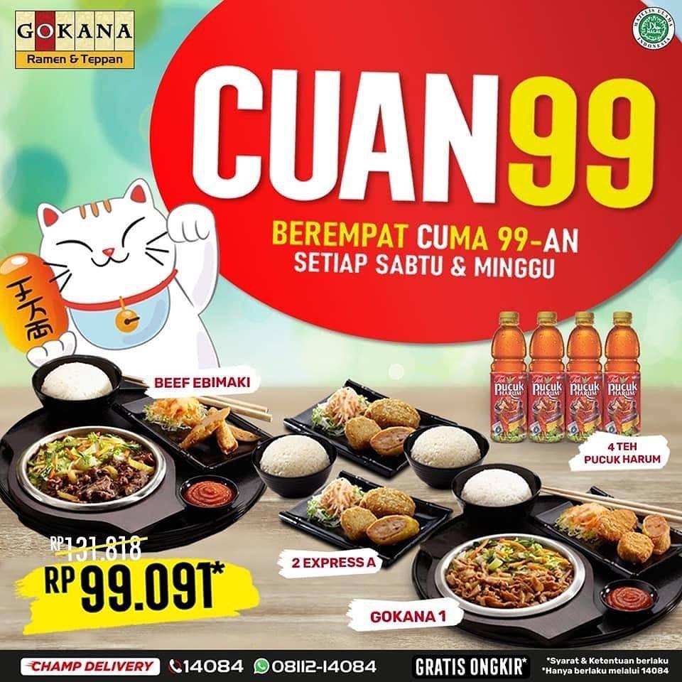 Diskon Gokana Promo Cuan 99 - Makan Berempat Cuma Rp. 99Ribuan