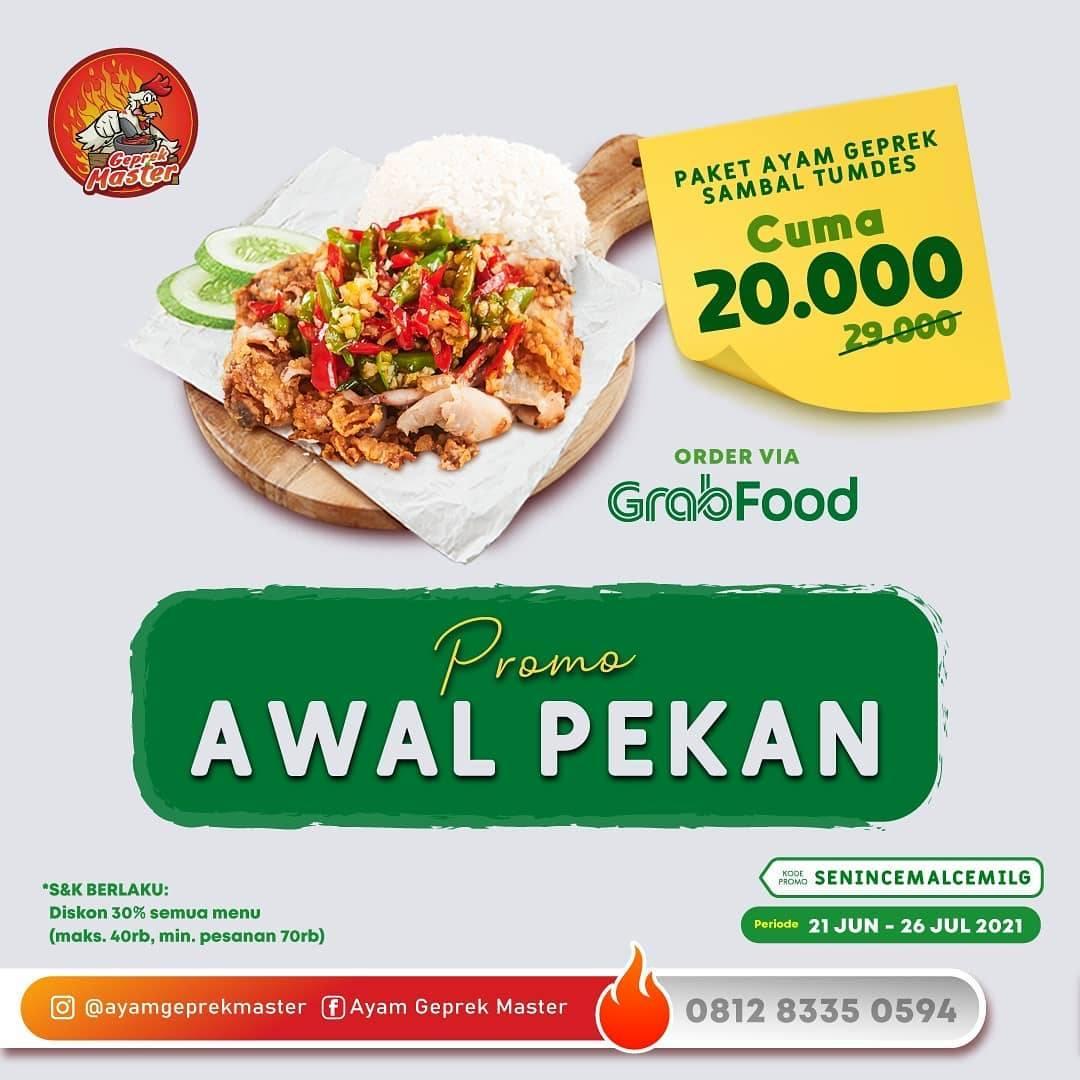Diskon Ayam Geprek Master Paket Ayam Geprek Sambal Tumbes Hanya Rp. 20k Dengan GrabFood