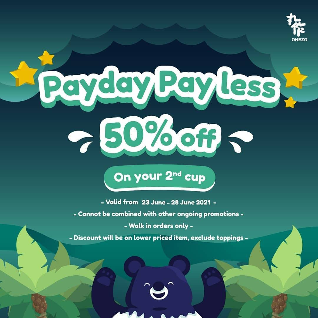 Diskon Onezo Payday Payless Discount 50% Off On 2nd Cup