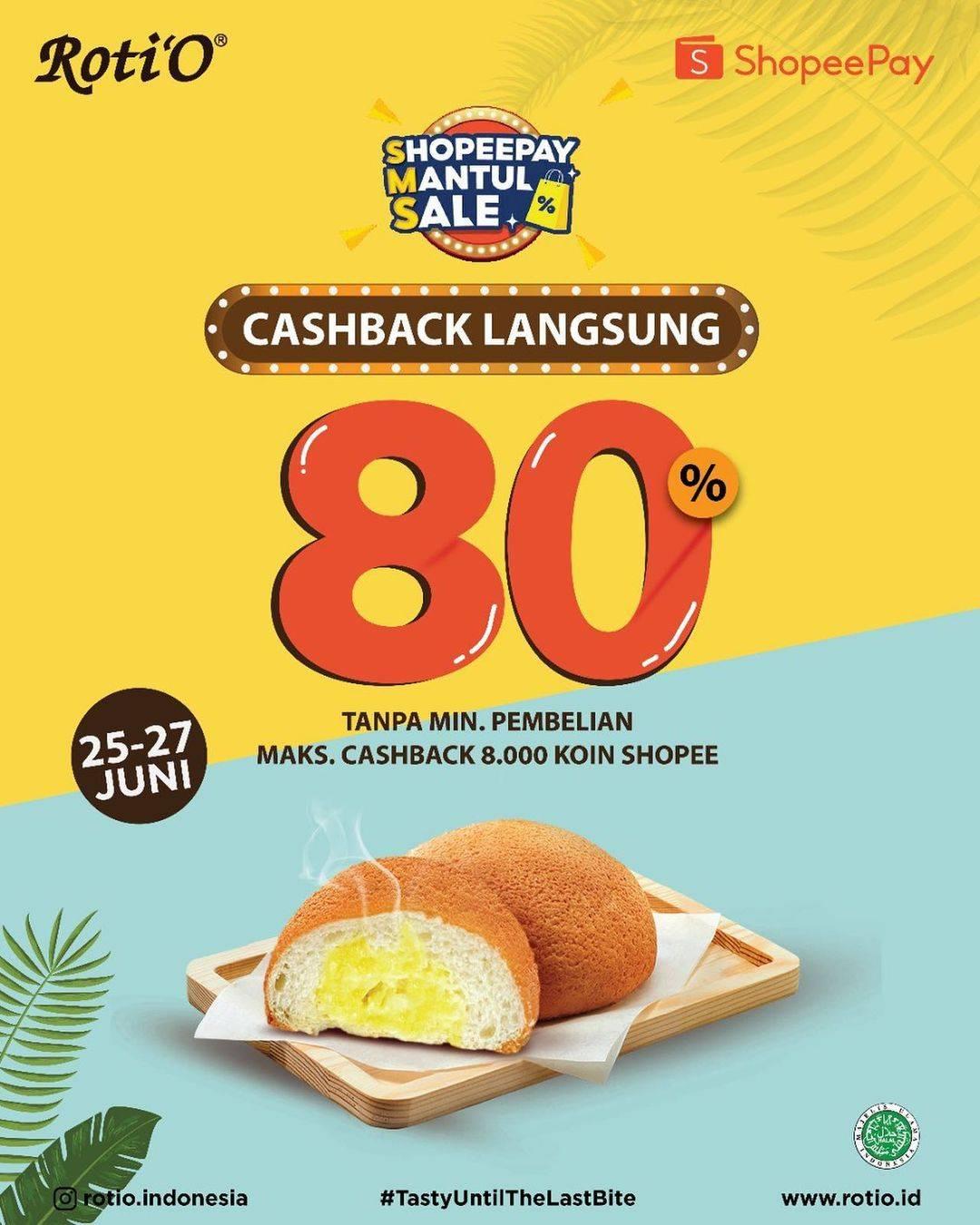 Diskon Roti'O Cashback Langsung 80% Dengan Shopeepay