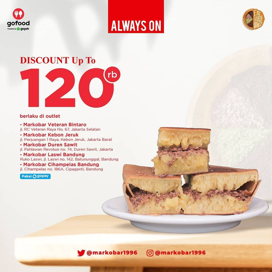 Diskon Markobar Discount Up To Rp. 120.000 On GoFood