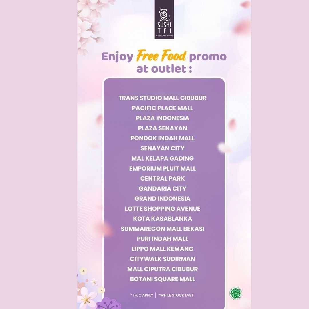 Promo diskon Sushi Tei Get Free Food