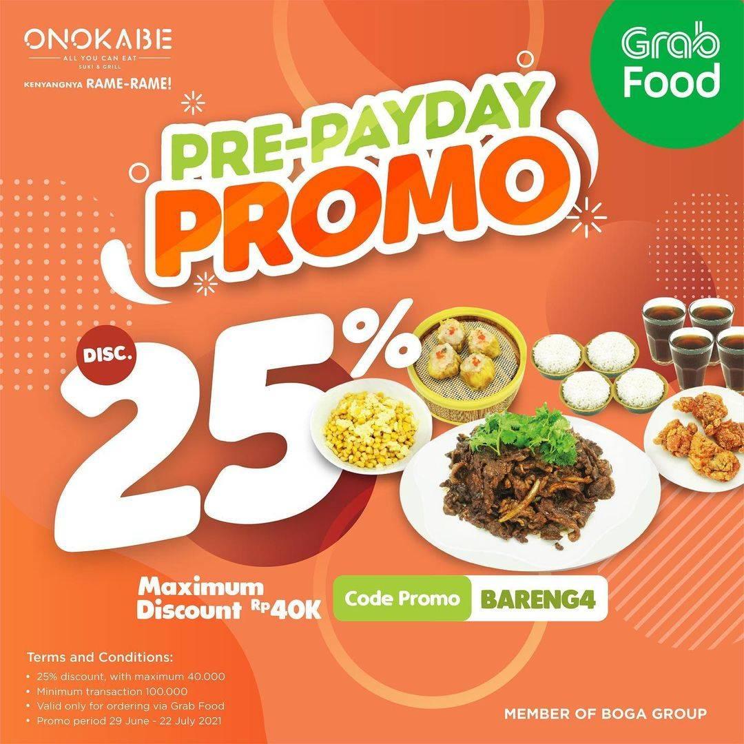 Diskon Onokabe Pre-Payday Discount 25% Off ON GrabFood
