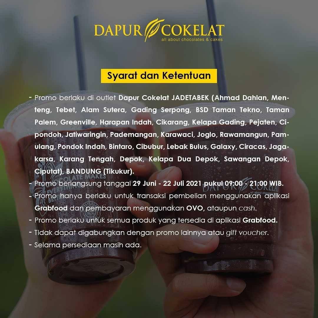 Promo diskon Dapur Cokelat Discount 35% Off On GrabFood