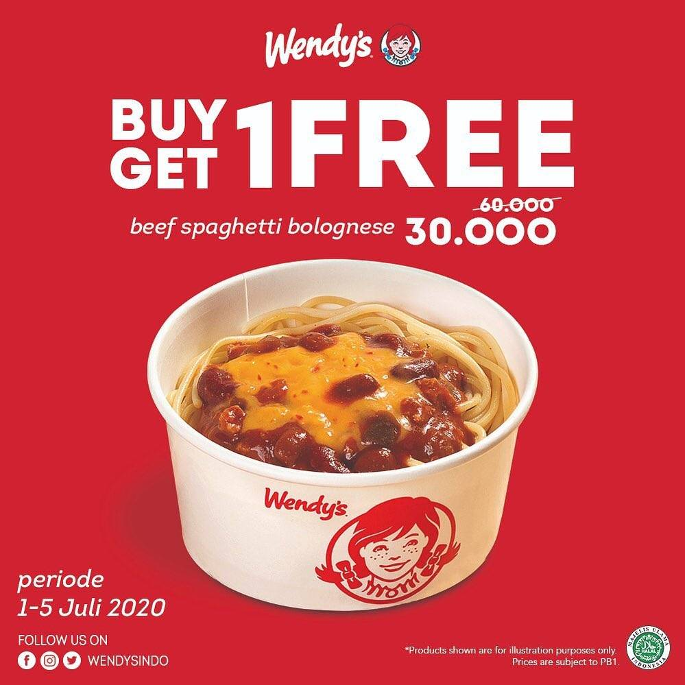 Diskon Promo Wendys Buy 1 Get 1 Free Beef Spaghetti Bolognese