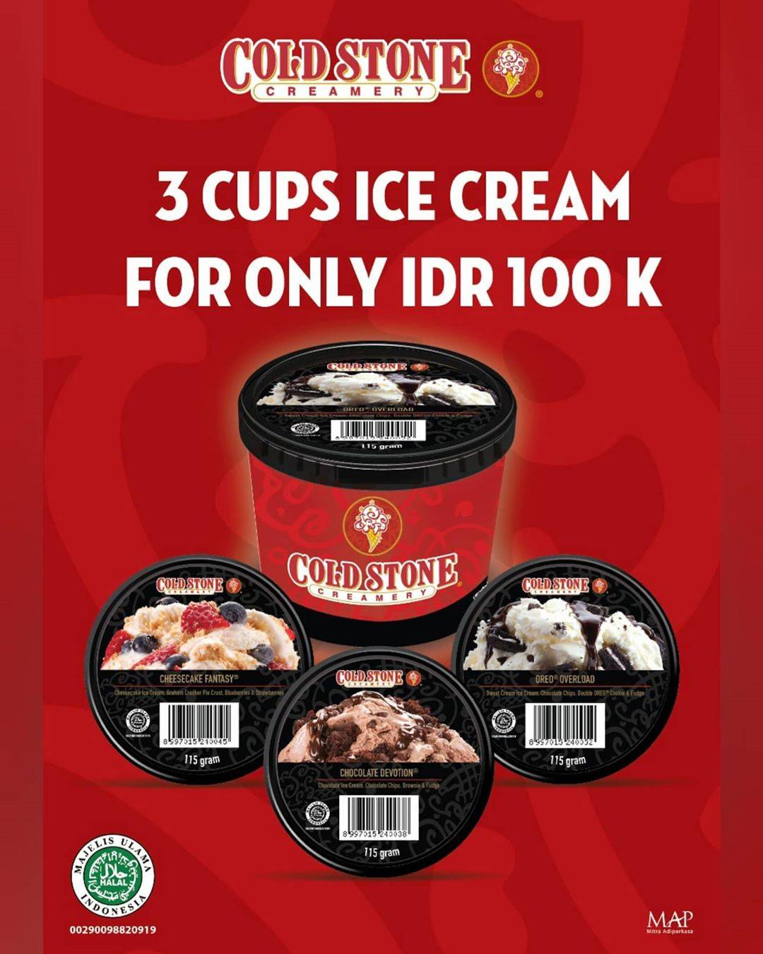 Diskon Promo Cold Stone Special Value 3 Cups Ice Cream Only For Rp. 100.000