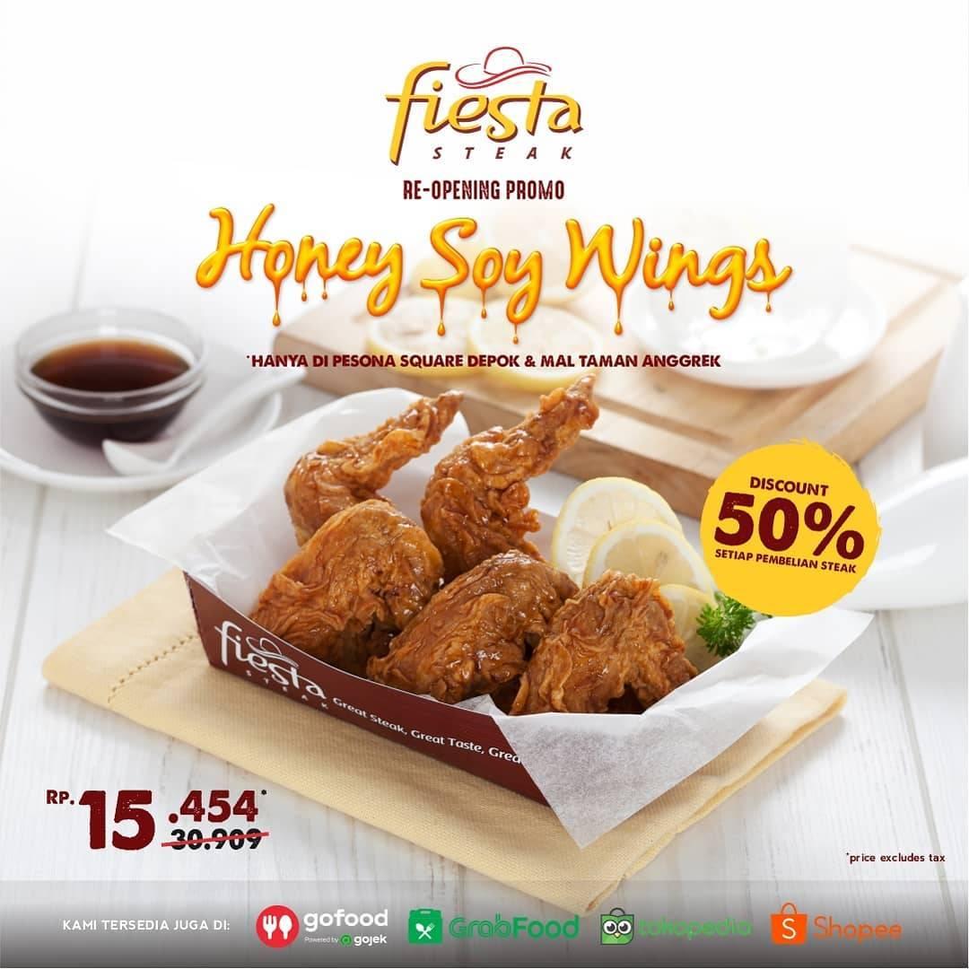 Diskon Promo Re-Opening Fiesta Steak Diskon 50% Untuk Menu Honey Soy Wings