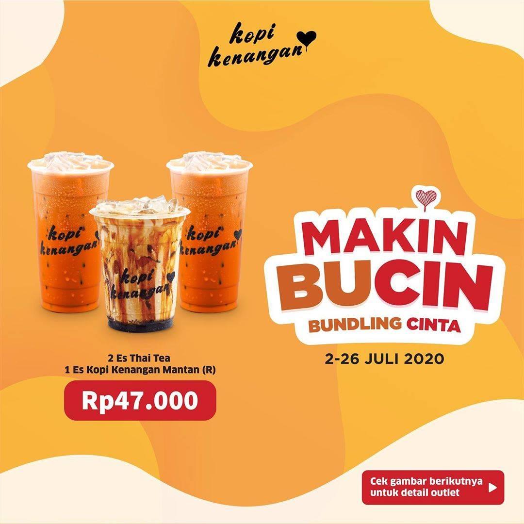 Diskon Promo Makin Bundling Cinta Kopi Kenangan, 2 Es Thai Tea + 1 Es KopKen Mantan Hanya Rp. 47.000