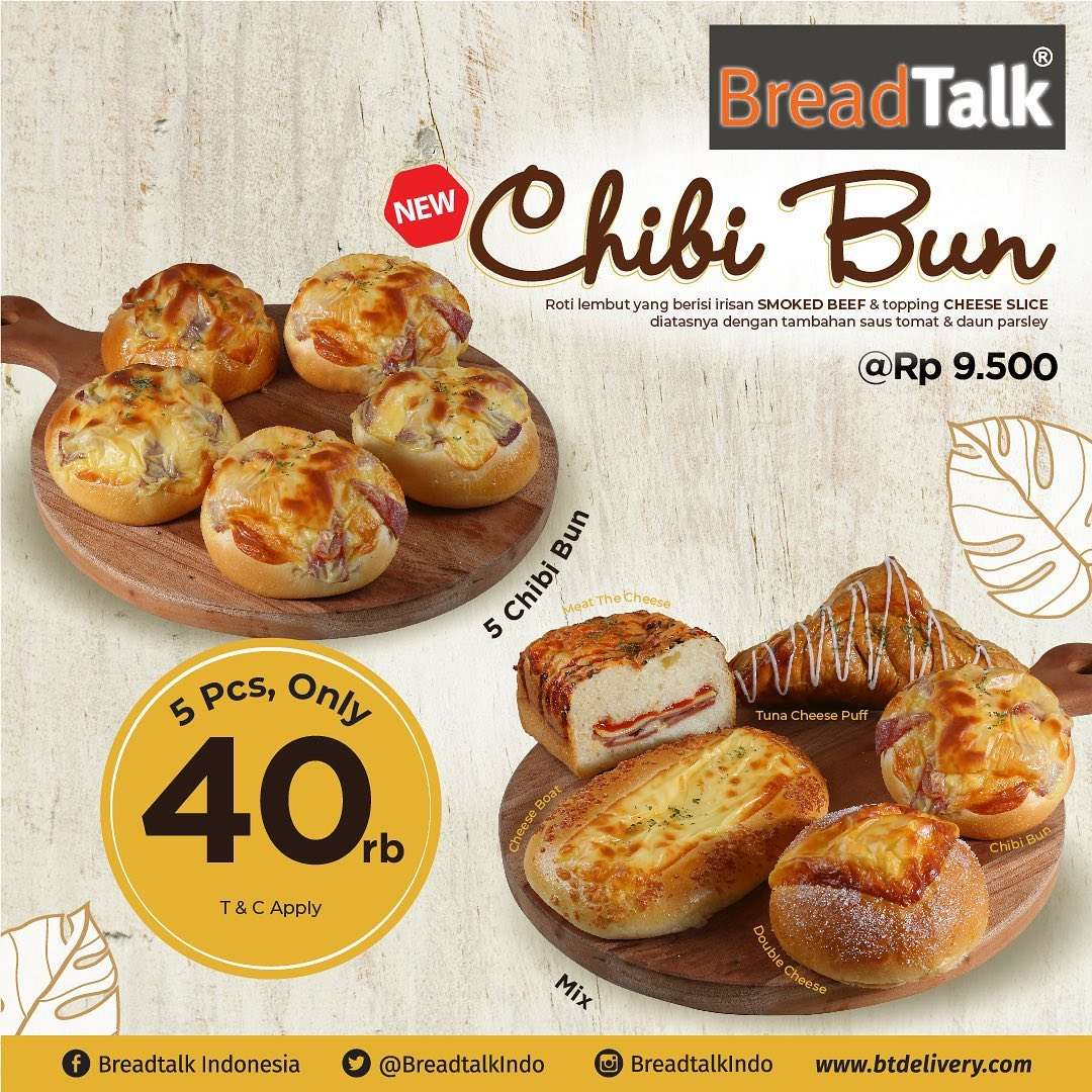 Diskon Promo Breadtalk Paket 5 pcs Chibi Bun Hanya Rp. 40.000
