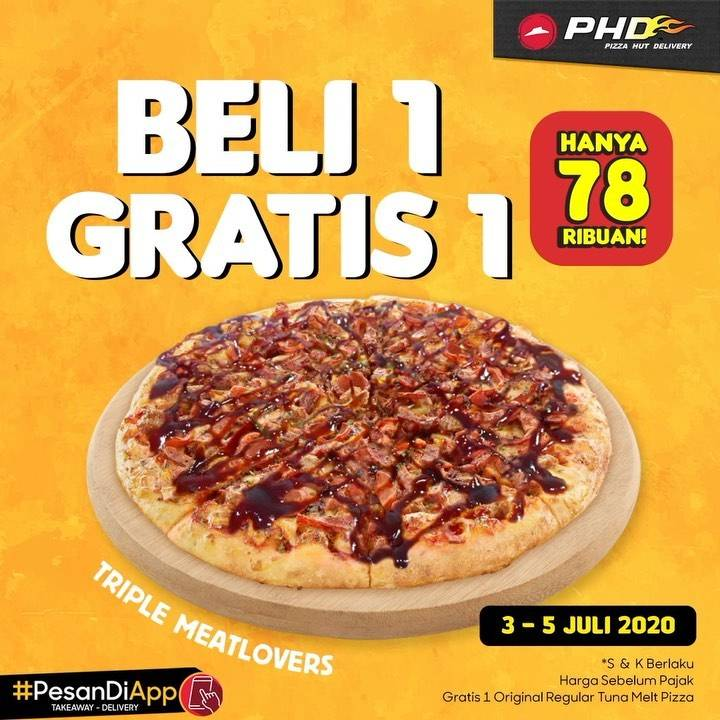Diskon Promo PHD Beli 1 Gratis 1 - Beli 1 Pizza Triple Meatlovers Gratis 1 Regular Pizza Tuna Melt