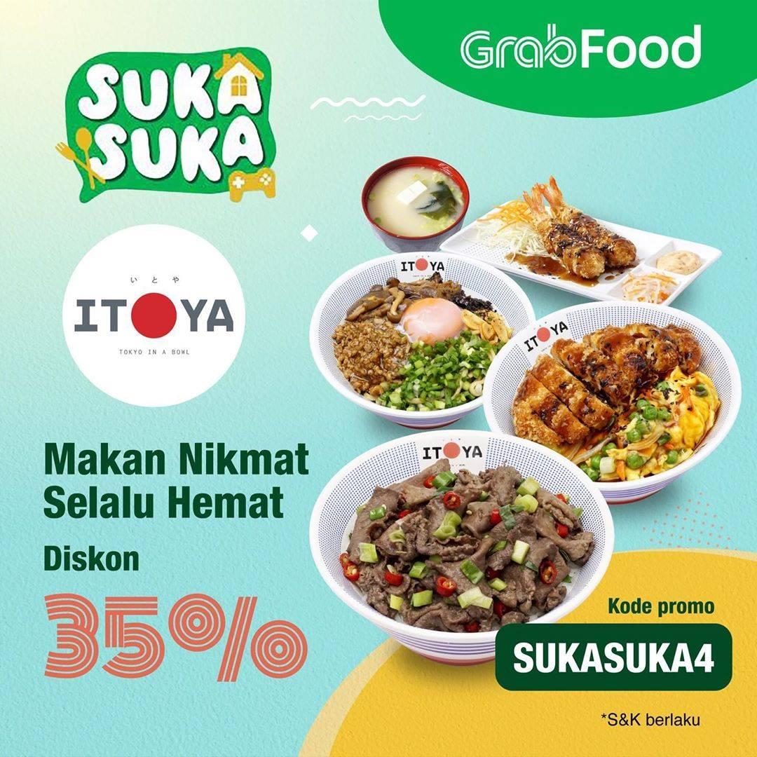 Diskon Promo Itoya Donburi Diskon 35% Untuk Pemesanan Menu Melaui GrabFood