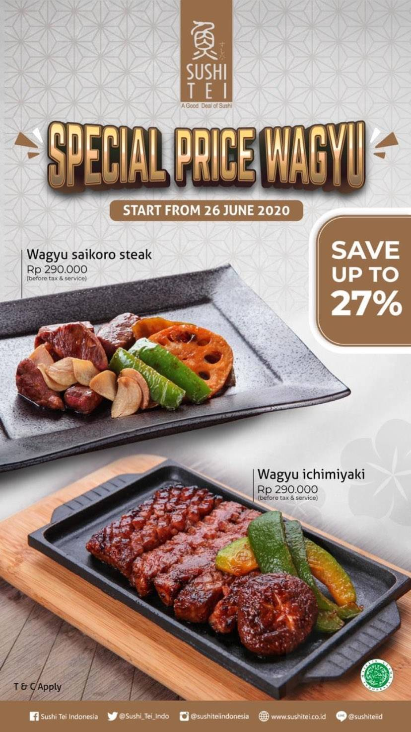 Diskon Sushi Tei Promo Special Price Wagyu Save up to 27%