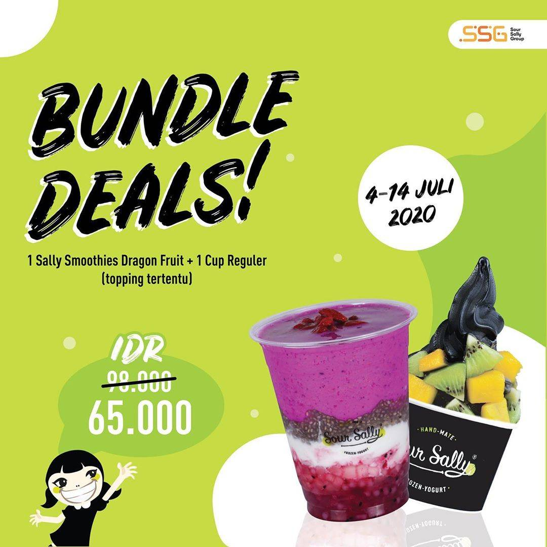 Diskon Promo Sour Sally Bundle Deals 1 Sally Smoothies + 1 Cup Regular Start From 65.000