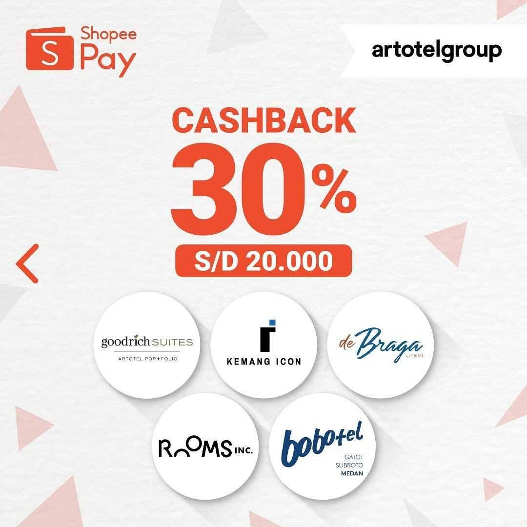 Promo diskon Promo Artotel Group Cashback 30% Untuk Transaksi Menggunakan Shopeepay