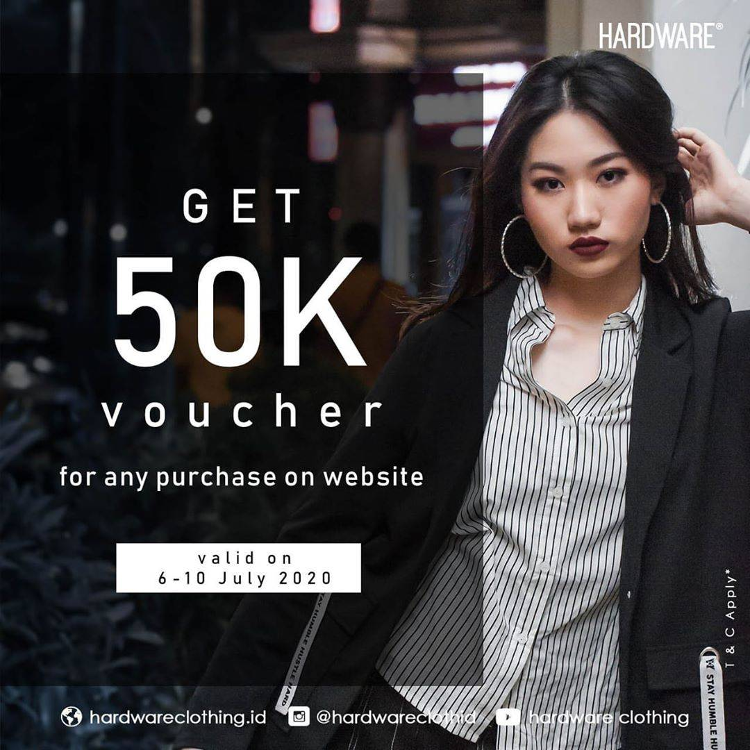 Diskon Promo Hardware Clothing Get Rp. 50.000 Voucher For Any Purchase On Website
