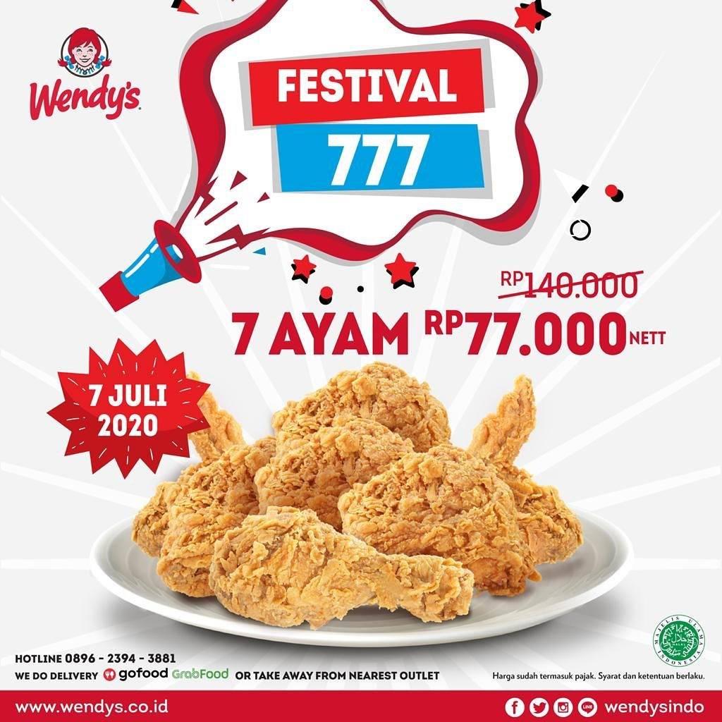 Diskon Promo Festival 777 Wendys 7 Pcs Ayam Hanya Rp. 77.000