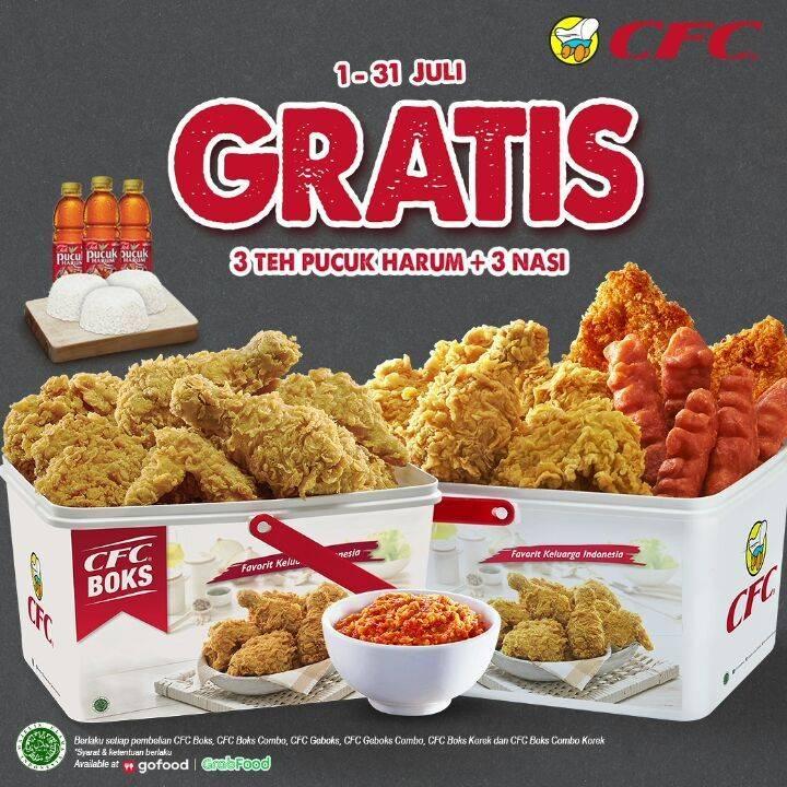 Diskon Promo CFC Gratis 3 Teh Pucuk Harum + 3 Nasi Setiap Pembelian Paket CFC Boks