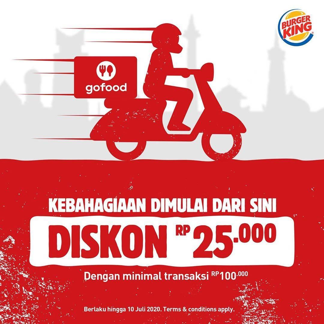 Diskon Promo Burger King Diskon Rp. 25.000 Untuk Pemesanan Menu Melalui GoFood