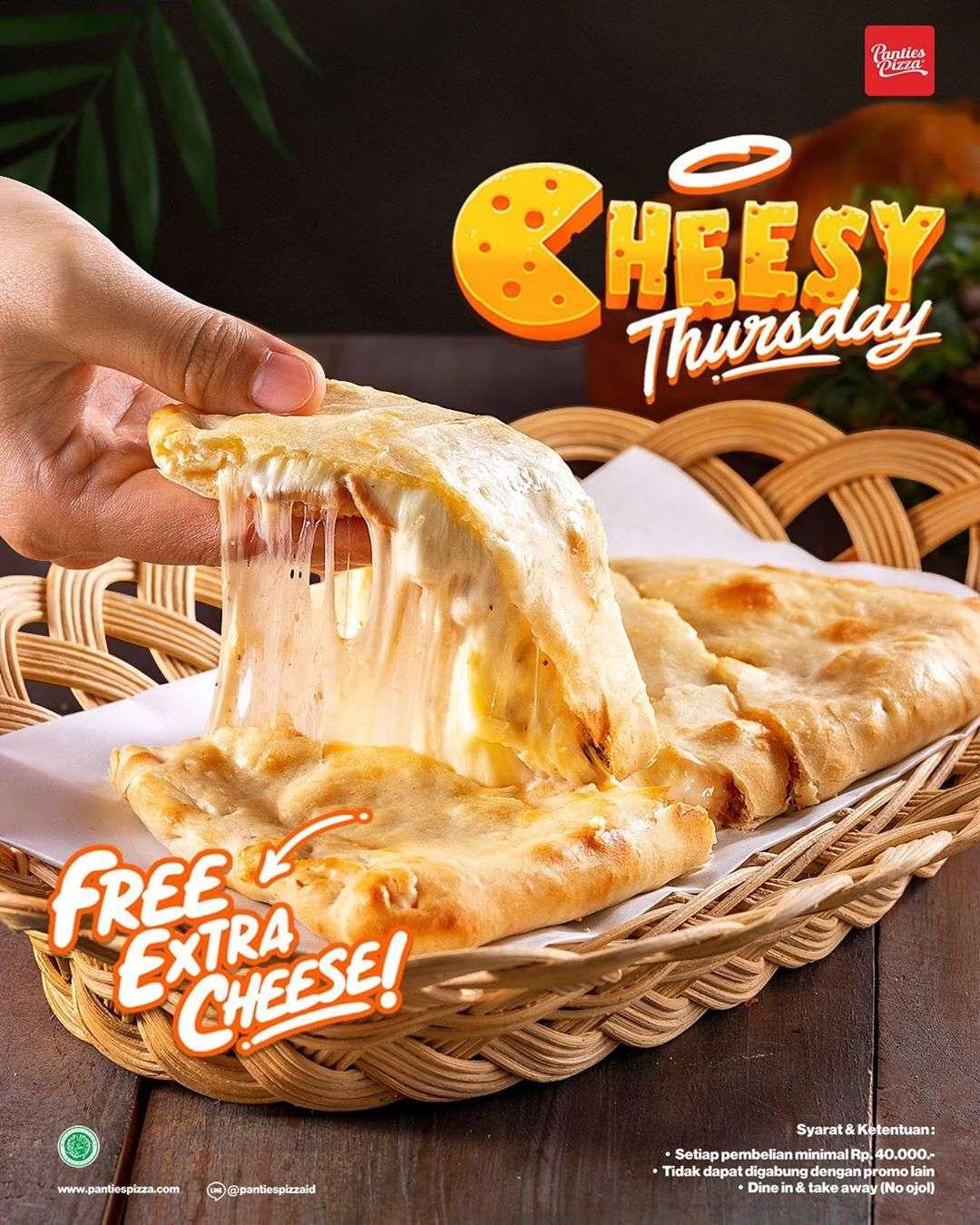 Diskon Promo Panties Pizza Gratis Extra Cheese Setiap Hari Kamis
