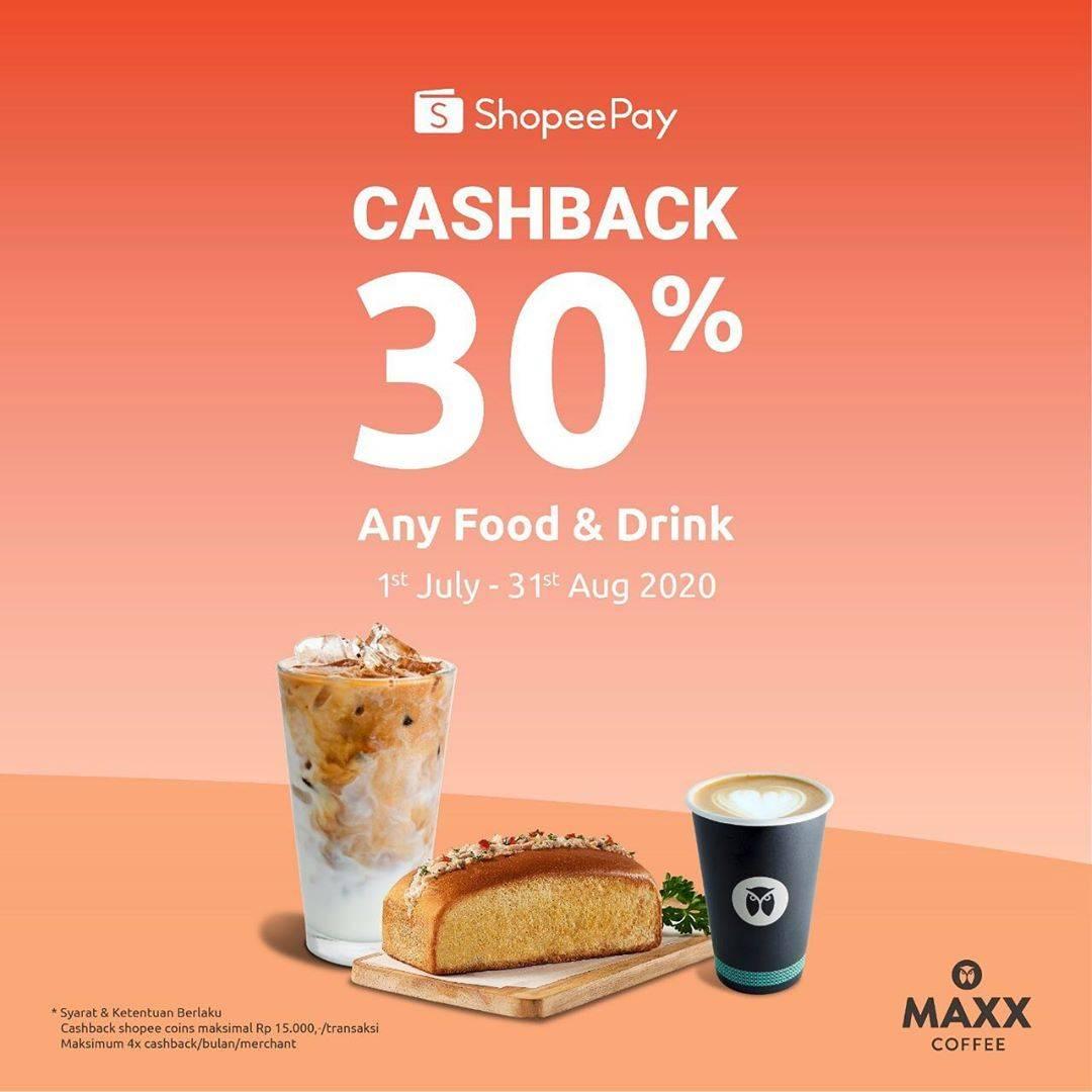 Diskon Promo Maxx Coffee Cashback 30% Untuk Transaksi Menggunakan ShopeePay