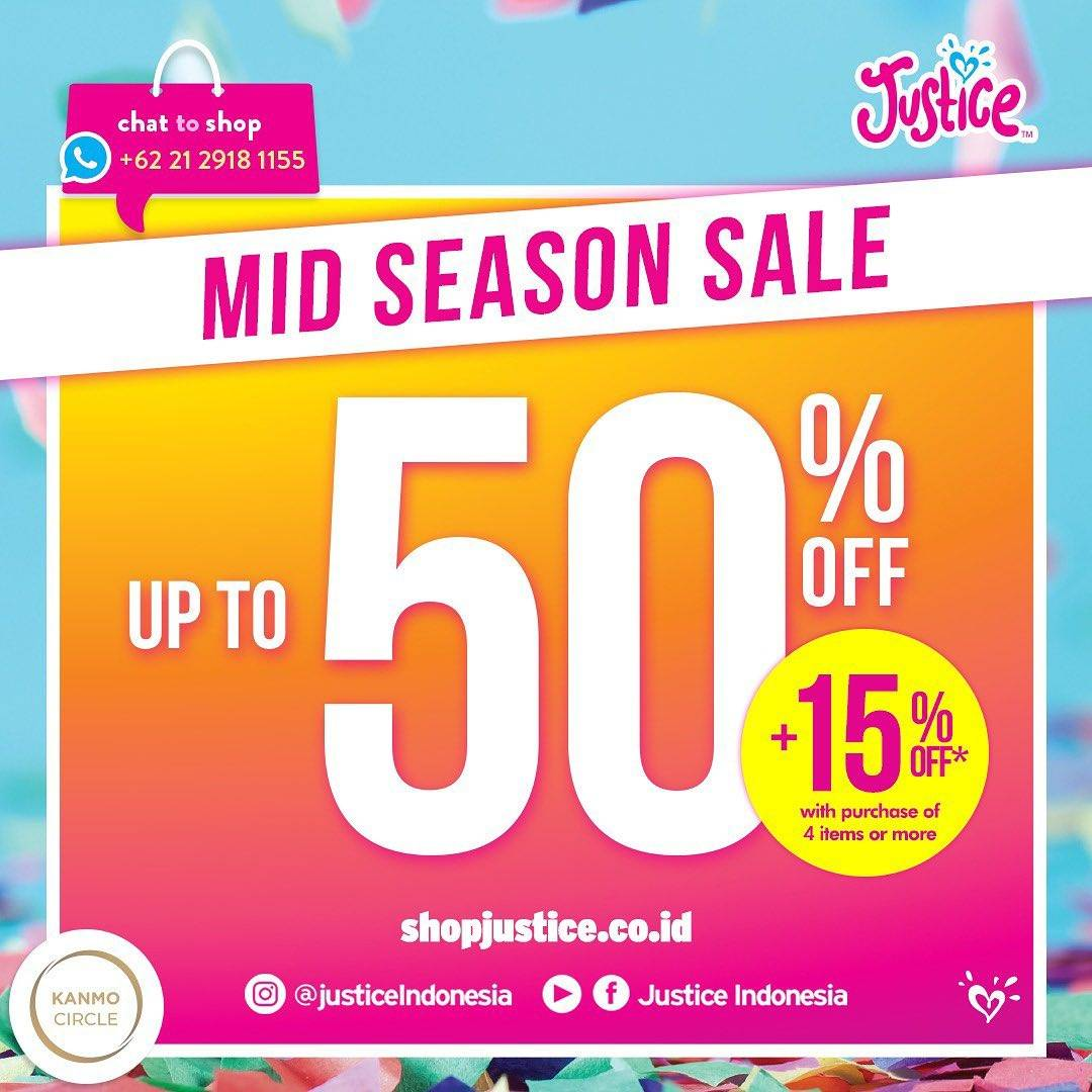 Diskon Promo Justice Discount Up To 50% + 15% Off With Min Purchase 4 Item & More