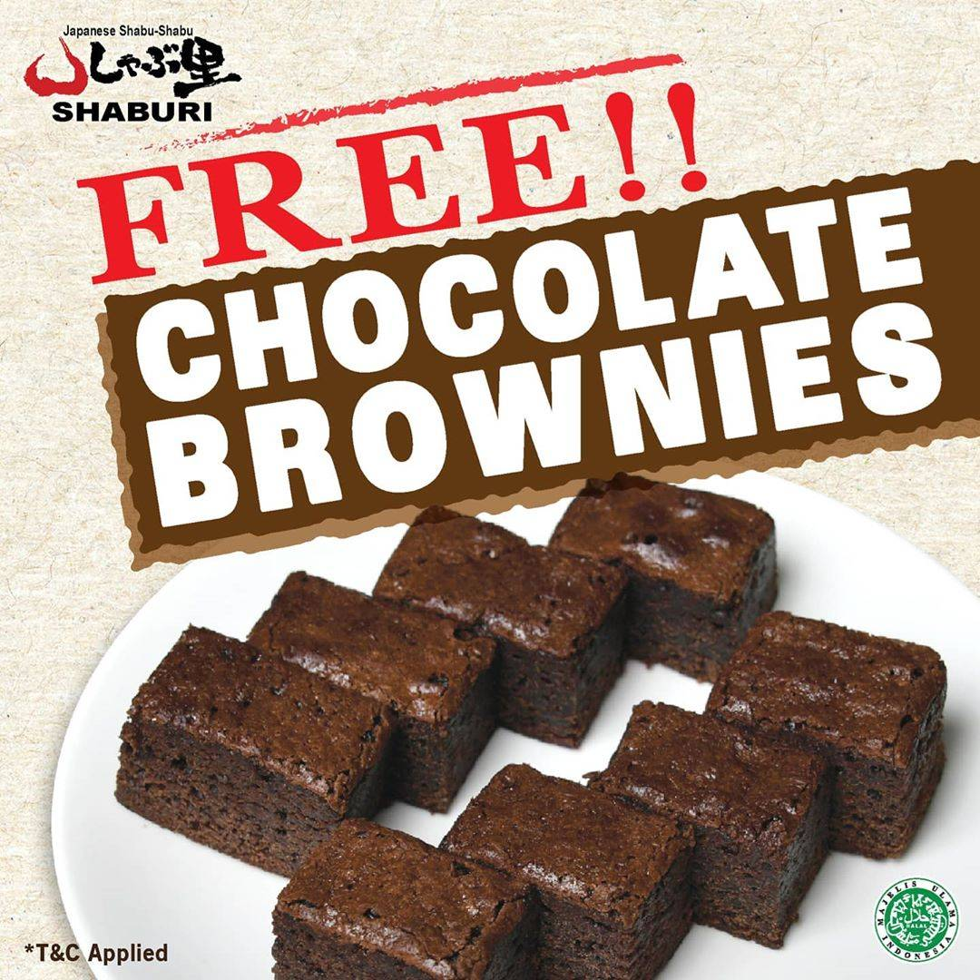 Diskon Promo Shaburi Free Chocolate Brownies For Every Purchase Of Delivery Menu