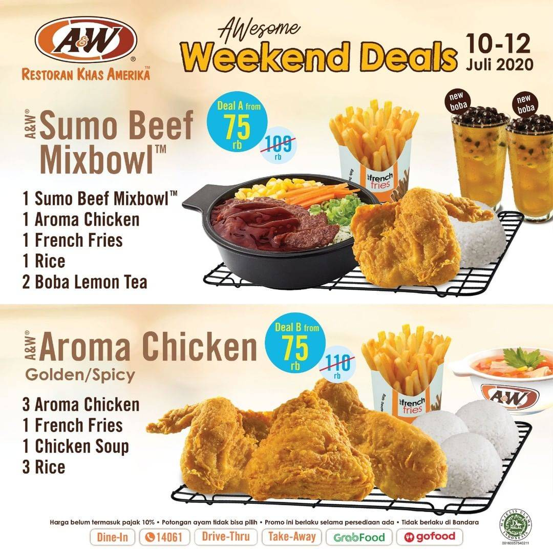 Diskon Promo A&W Restaurant Awesome Weekend Deals Hanya Rp. 75.000