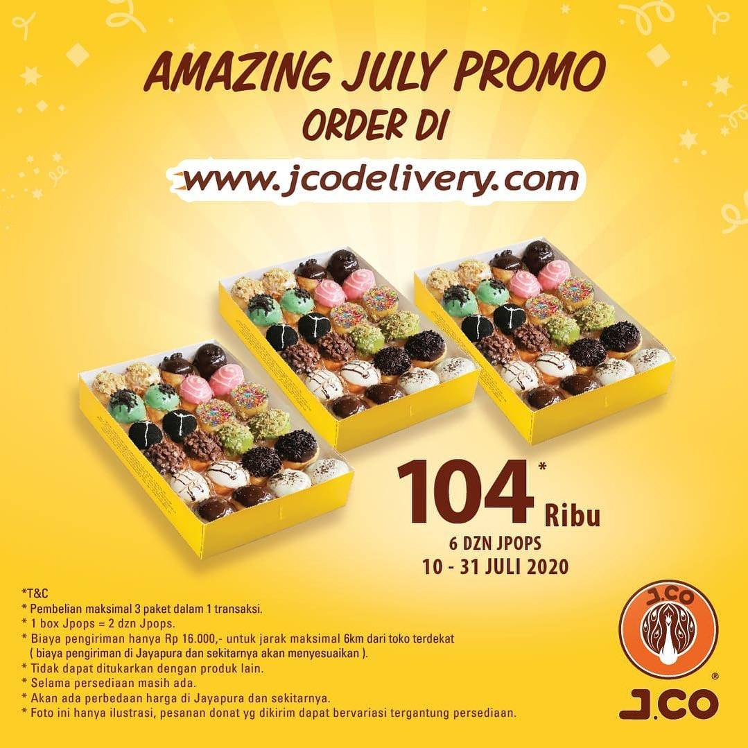 Diskon Promo J.CO Amazing July! 6 Dzn JPops Only For IDR. 104.000