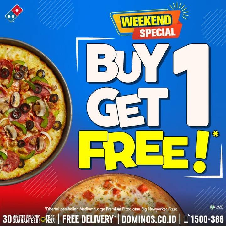 Diskon Promo Weekend Special Domino's Pizza Buy 1 Get 1 Free Pizza