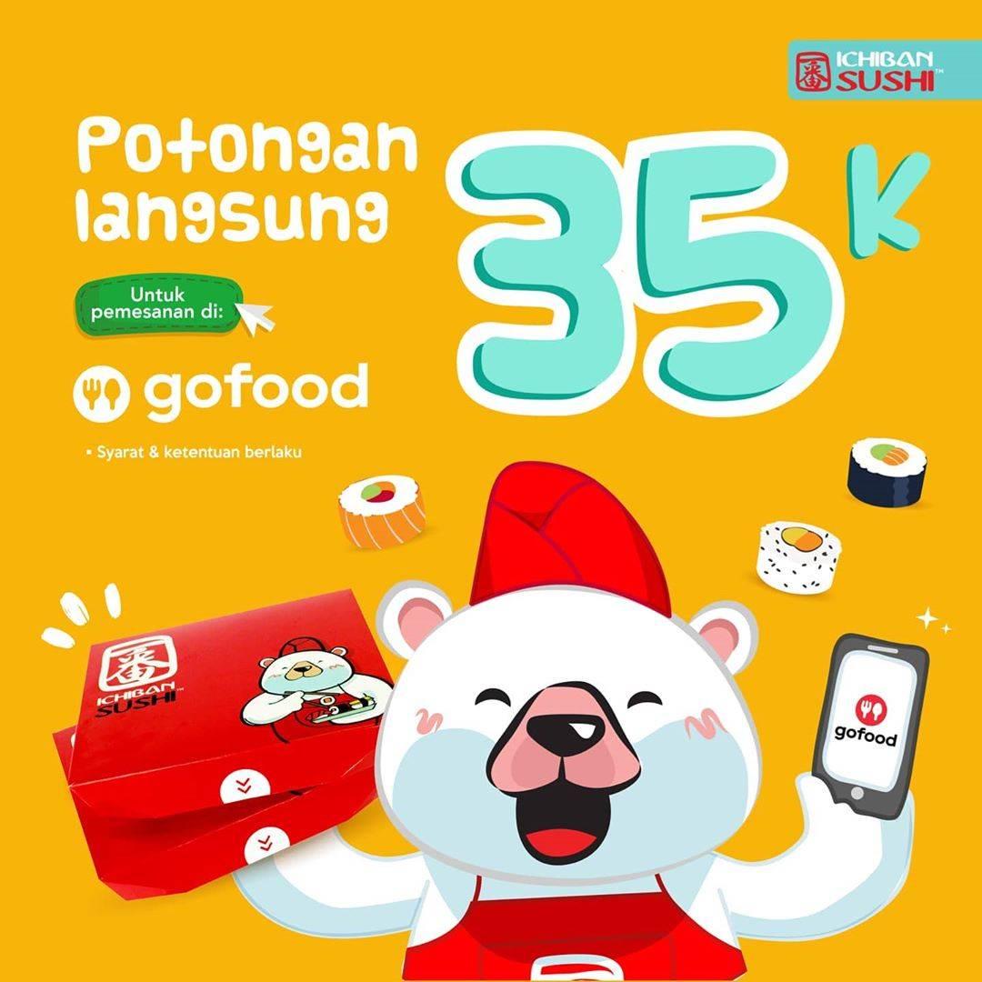 Diskon Promo Ichiban Sushi Potongan Langsung Rp. 35.000 Untuk Pemesanan Melalui GoFood