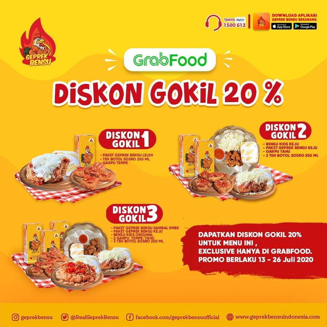 Diskon Promo Geprek Bensu Diskon 20% Untuk Pembelian Paket Diskon Gokil Melalui GrabFood