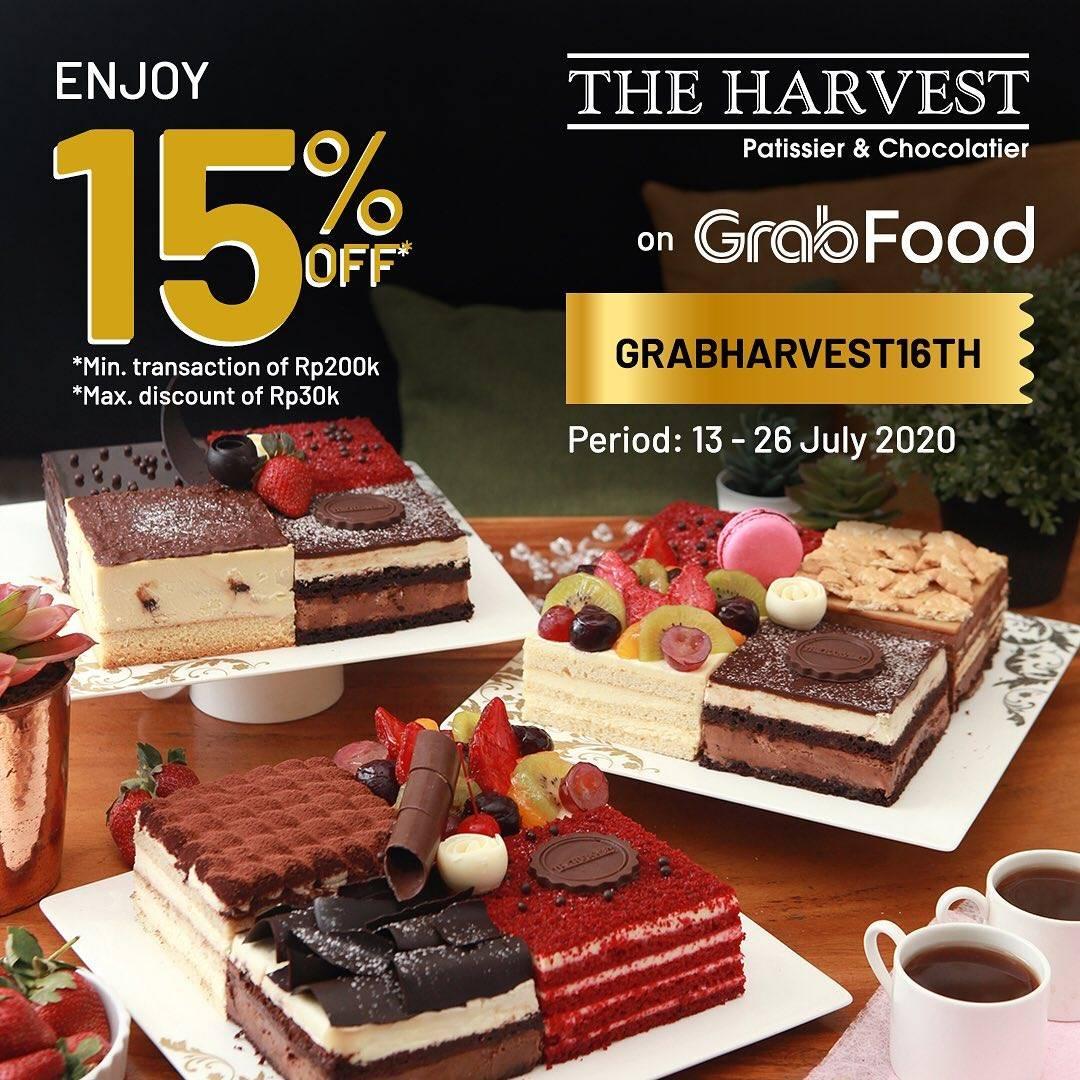 Diskon Promo The Harvest Anniversary 16th! Diskon 15% Untuk Pemesanan Menu Melalui GrabFood
