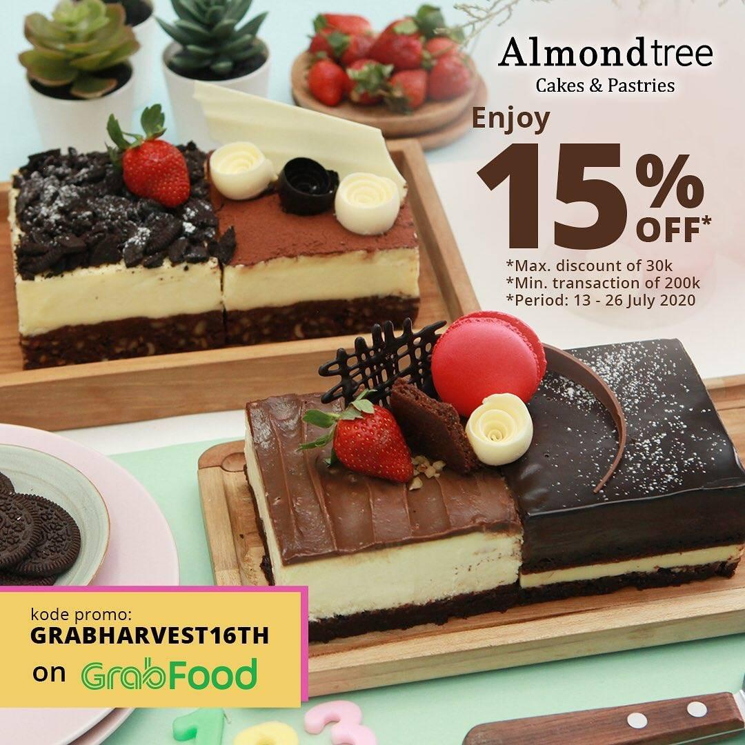 Diskon Promo Almond Tree Anniversary 16th! Diskon 15% Untuk Pemesanan Menu Melalui GrabFood