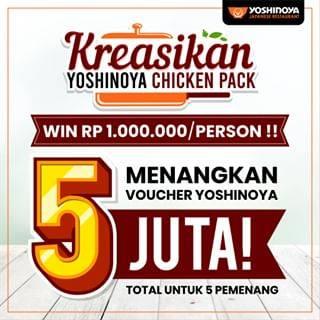 Diskon Promo Yoshinoya Kreasikan Chicken Pack Menangkan Voucher Rp. 1 Juta Untuk 5 Orang Pemenang