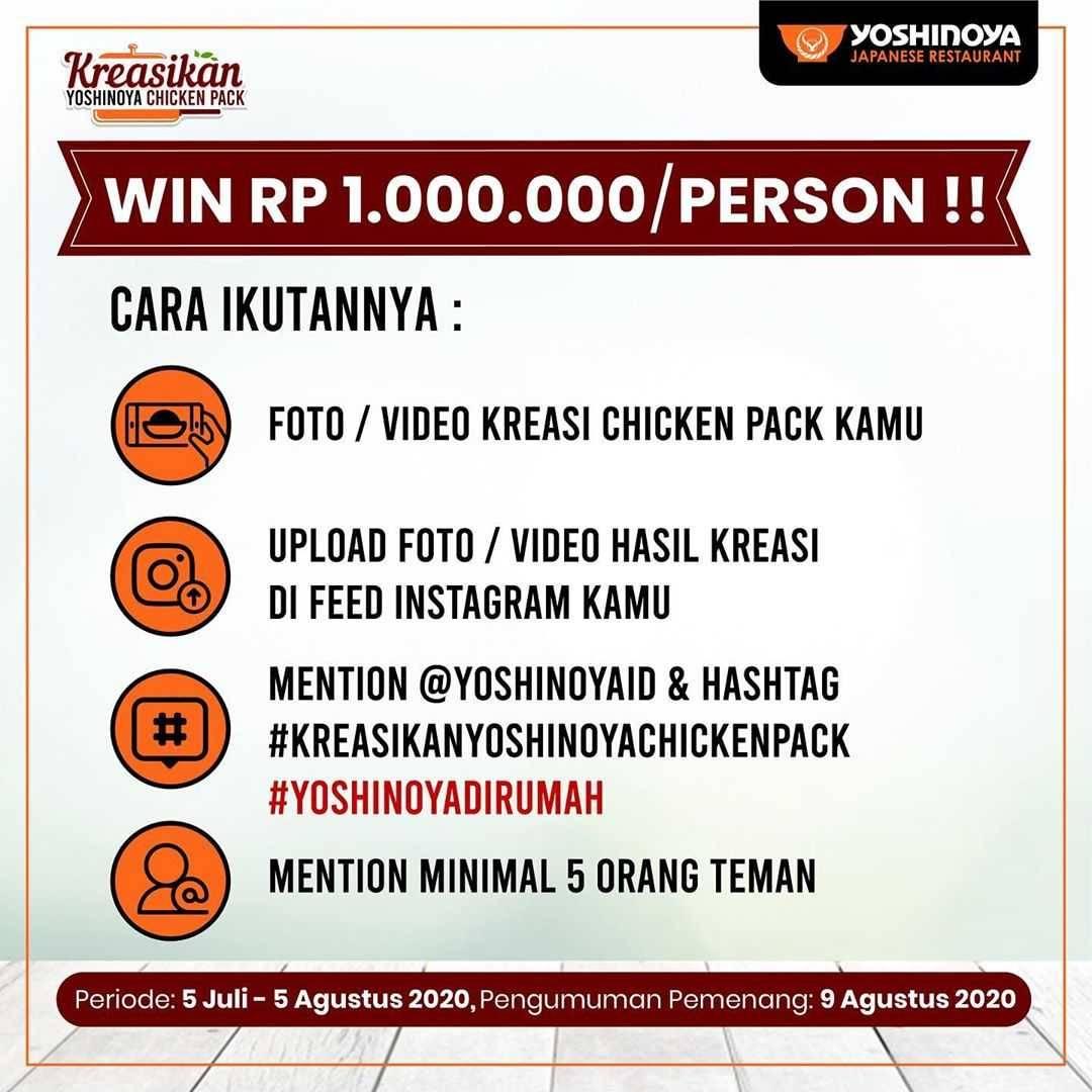 Promo diskon Promo Yoshinoya Kreasikan Chicken Pack Menangkan Voucher Rp. 1 Juta Untuk 5 Orang Pemenang