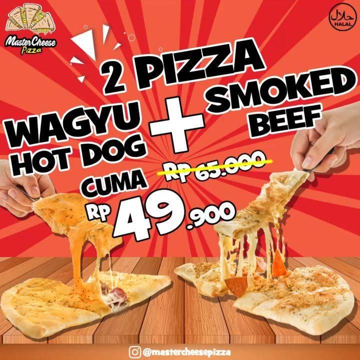 Diskon Promo Mastercheese Pizza 2 Pizza Smoked Beef + Waggyy Sausage Cuma Rp. 49.900