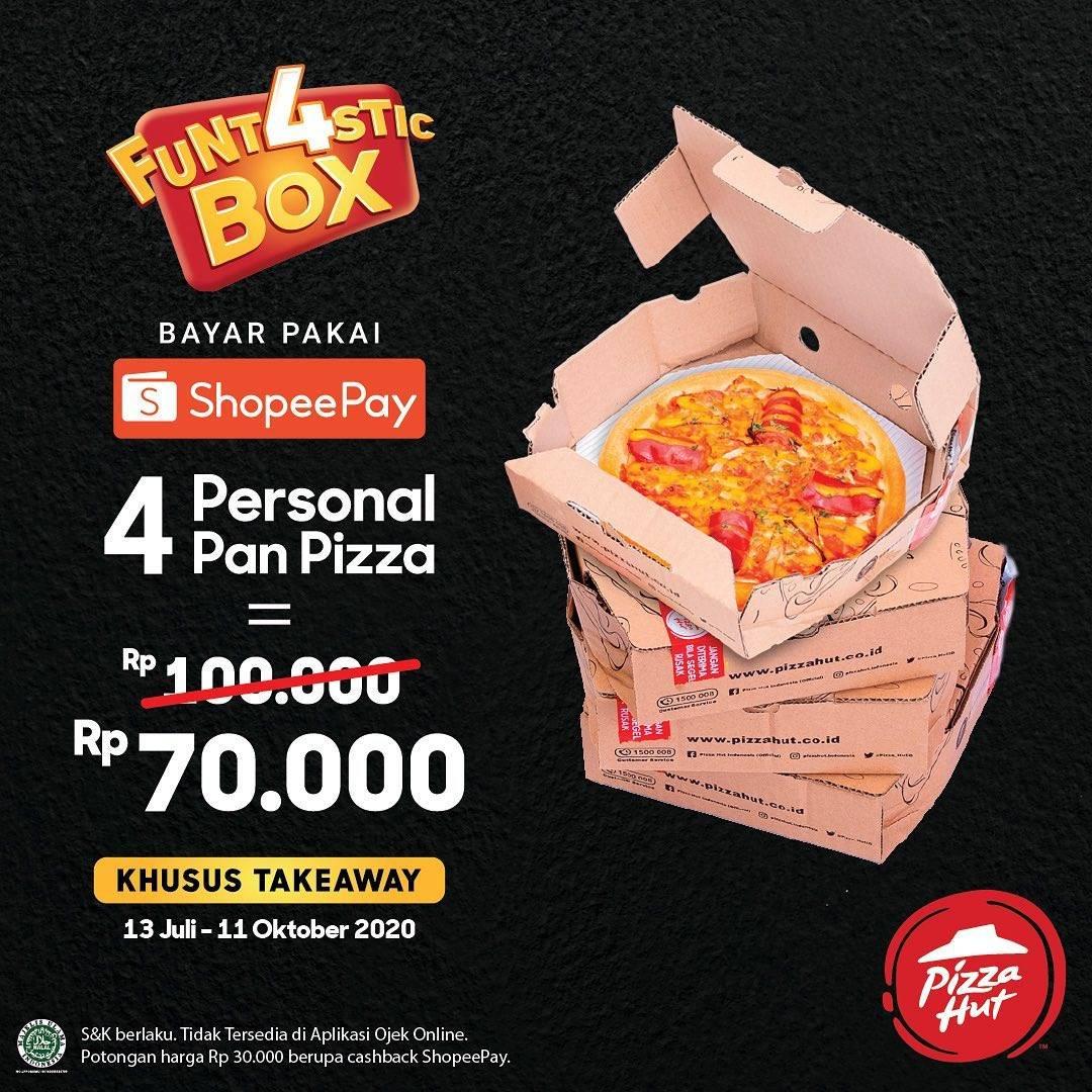 Diskon Promo Pizza Hut Funt4stic Box Hanya Rp. 70.000 Untuk Transaksi Menggunakan ShopeePay