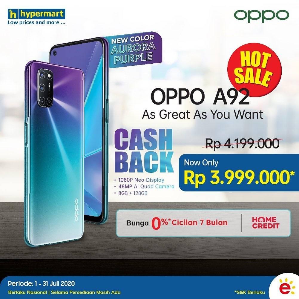 Diskon Promo Hypermart Hot Sale OPPO A92 Cicilan 0%!!