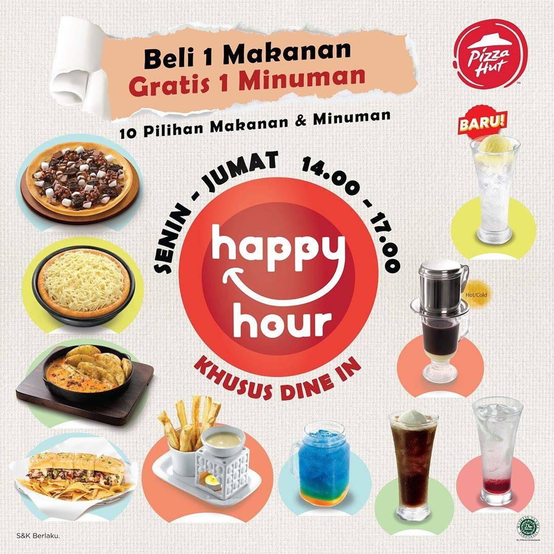 Diskon Promo Pizza Hut Happy Hour Beli 1 Makanan Gratis 1 Minuman