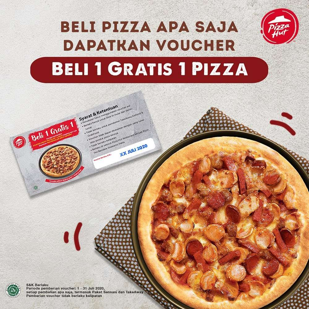 Diskon Promo Pizza Hut Voucher Beli 1 Gratis 1 Pizza Setiap Pembelian Dine In / Take Away