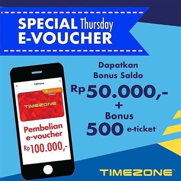Diskon Promo Timezone Bonus Saldo Rp. 50.000 + 500 e-Ticket Di Aplikasi TZPromo