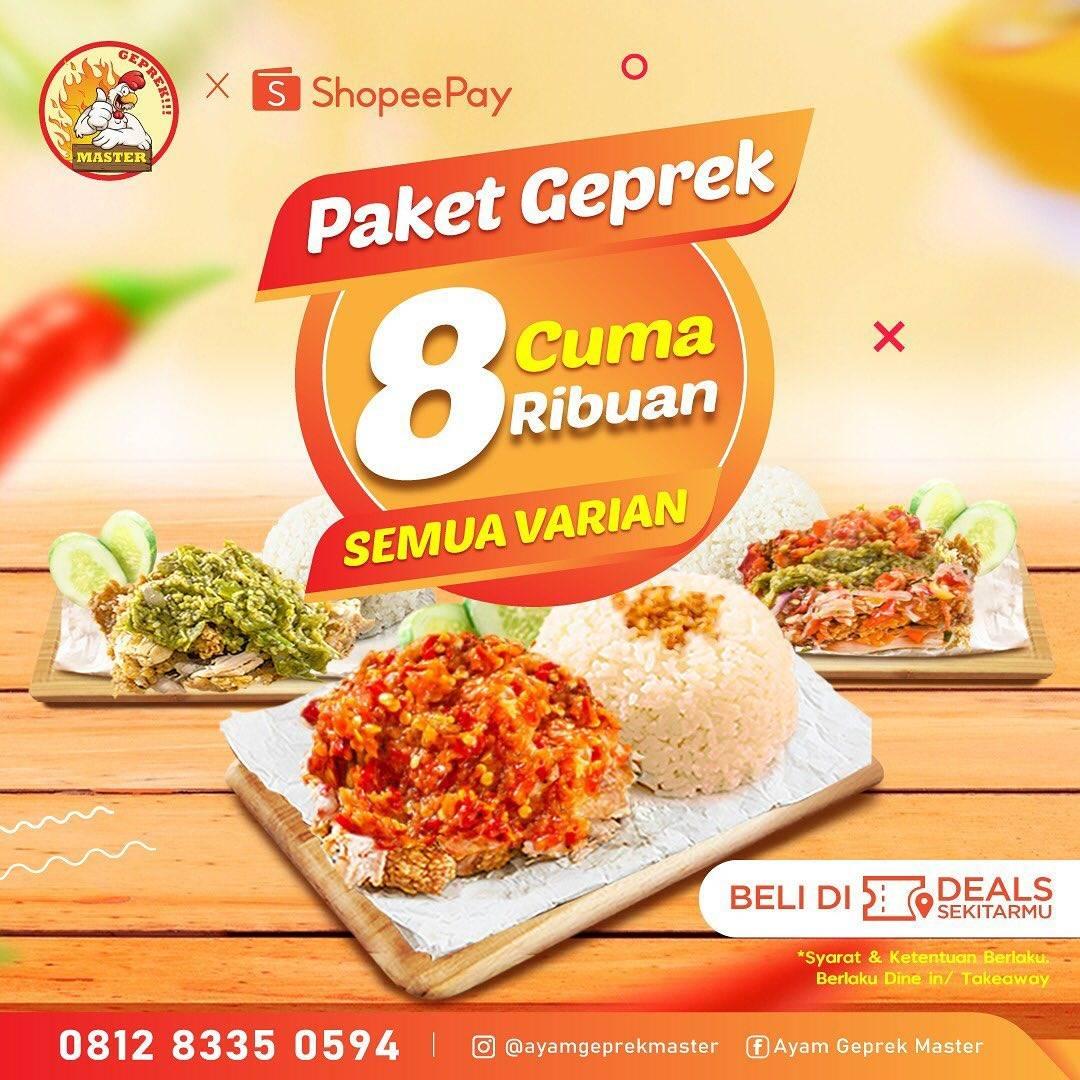 Diskon Promo Ayam Geprek Master Paket Geprek Cuma Rp. 8 Ribuan Untuk Transaksi Dengan ShopeePay
