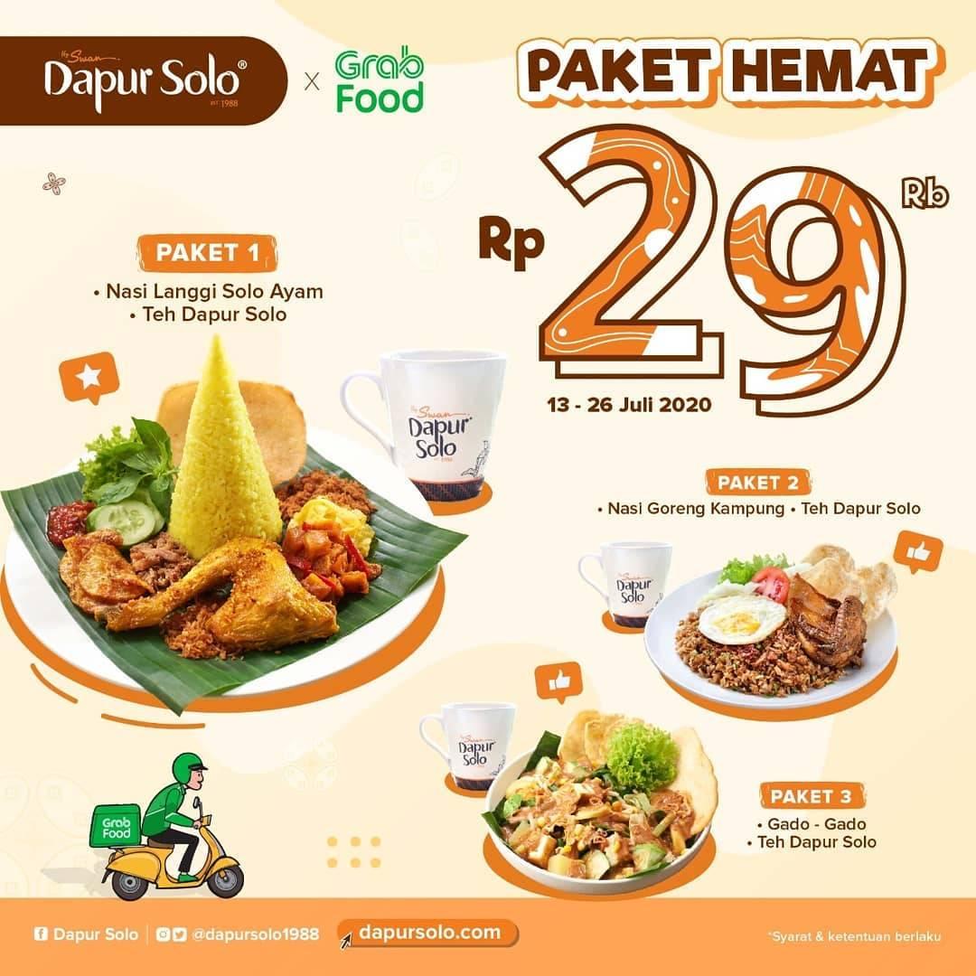 Diskon Promo Dapur Solo Paket Hemat Hanya Rp. 29.000 Untuk Pemesanan Melalui GrabFood