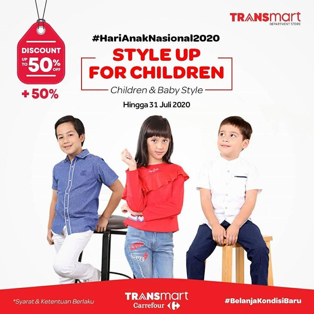 Diskon Katalog Promo Transmart Fashion Anak hingga 50% Periode Hingga 31Juli 2020